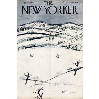 Vintage 1949 New Yorker Cover, January 15 (Abe Birnbaum), Winter, Sports, Hunting For Sale