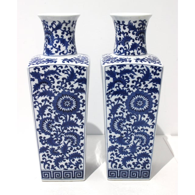Blue Vintage Blue & White Silk Road Style Vases - a Pair For Sale - Image 8 of 9
