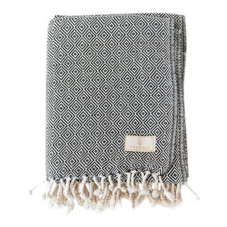 Stick & Ball Handwoven Cotton Towel in Black For Sale