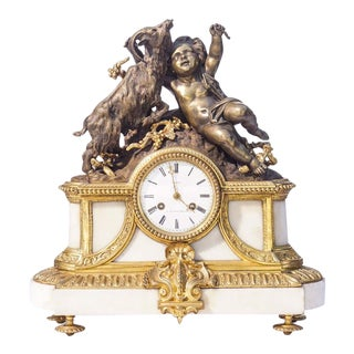 19th C. French Dore Bronze and Marble Clock For Sale
