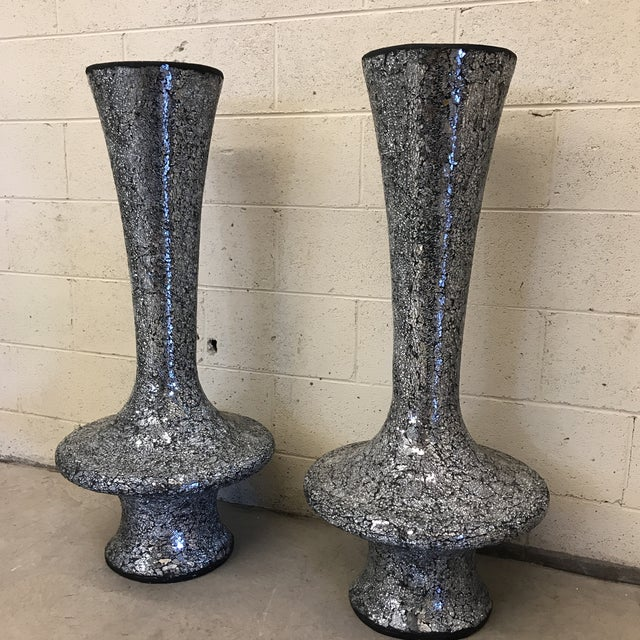 Silver Monumental Mirrored Tile Mosaic Urns - A Pair For Sale - Image 8 of 8