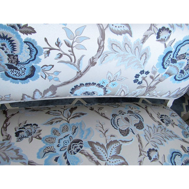 Floral Upholstered French Settee & Arm Accent Chair For Sale - Image 4 of 8