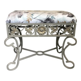 Contemporary Floral Upholstered Footstool