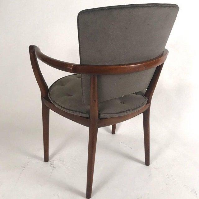 Mid-Century Modern Bert England for Widdicomb Desk/ Armchair in Grey Velvet With Tufting For Sale - Image 3 of 12