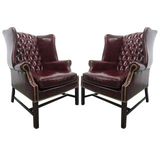 Pair of Vintage Leather Tufted Wingback Chairs For Sale