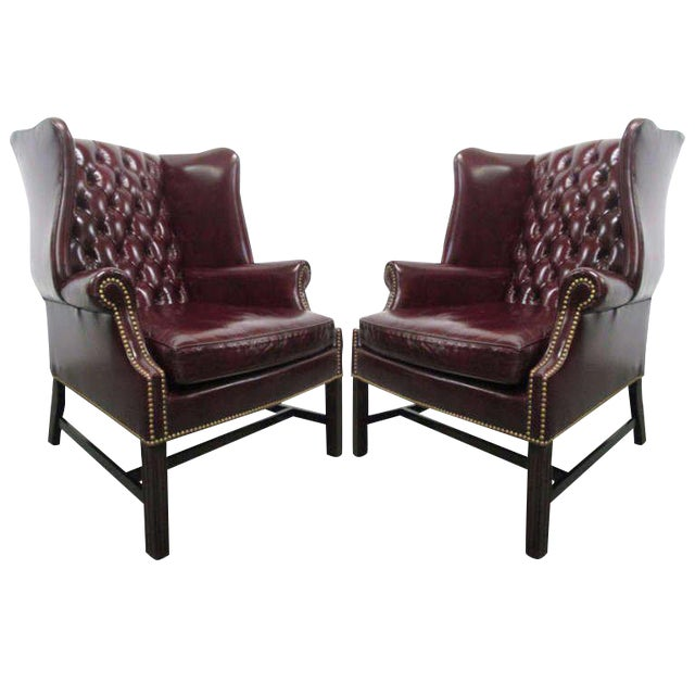 Pair of Vintage Leather Tufted Wingback Chairs For Sale - Exceptional Pair Of Vintage Leather Tufted Wingback Chairs DECASO