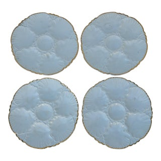 French Porcelain Majolica Oyster Plates - Set of 4 For Sale