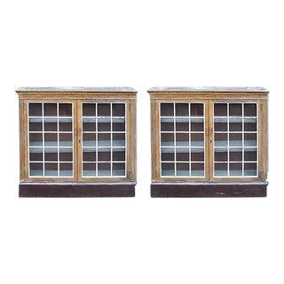 Late 19th Century Traditional Pickled Walnut Cabinets With Paned Glass Doors - a Pair For Sale