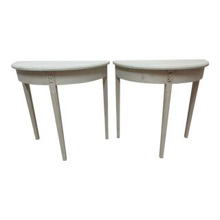 Swedish Gustavian Demi-Lune Console Tables - a Pair For Sale