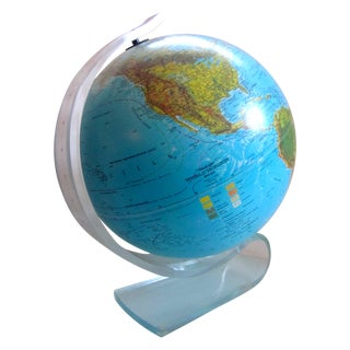 Vintage Globe with Thick Lucite Base