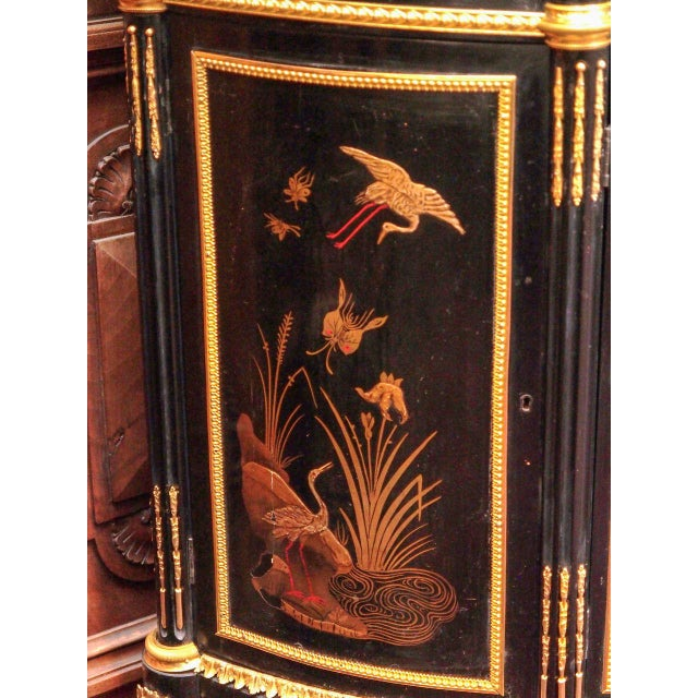 Exceptional Antique Black Lacquer Chinoiserie Commode, Circa 1890-1900. For Sale In New Orleans - Image 6 of 7
