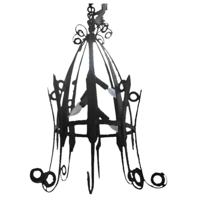 1920's Antique French Wrought Iron Lantern For Sale - Image 10 of 10