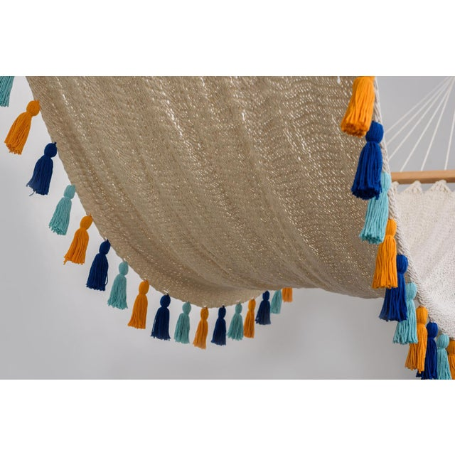 Handmade Handmade Deluxe Natural Cotton Hammock with Hue Inspired Tassels with Wooden Bar For Sale - Image 4 of 7