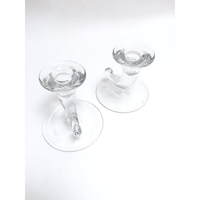 Transparent Vintage Glass Horn Taper Candle Holders - A Pair For Sale - Image 8 of 9