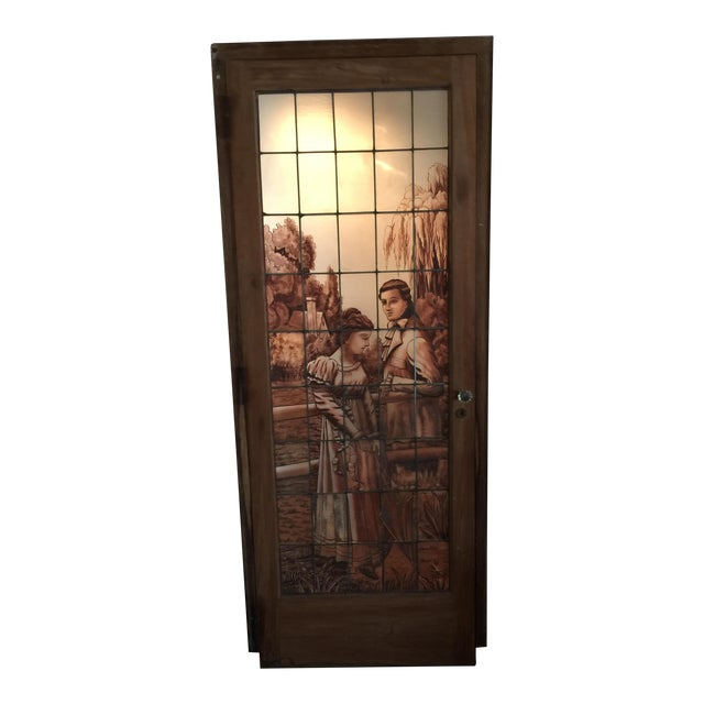 Antique Stained Glass Door For