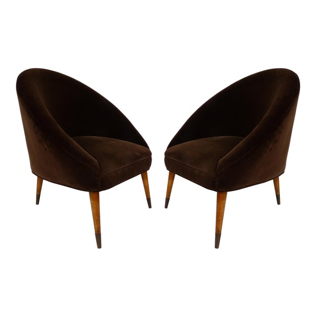 Mid-Century Gio Ponti Style Club Chairs-A Pair For Sale