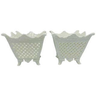 1960s Italian Pierced Porcelain Cachepots, Pair For Sale