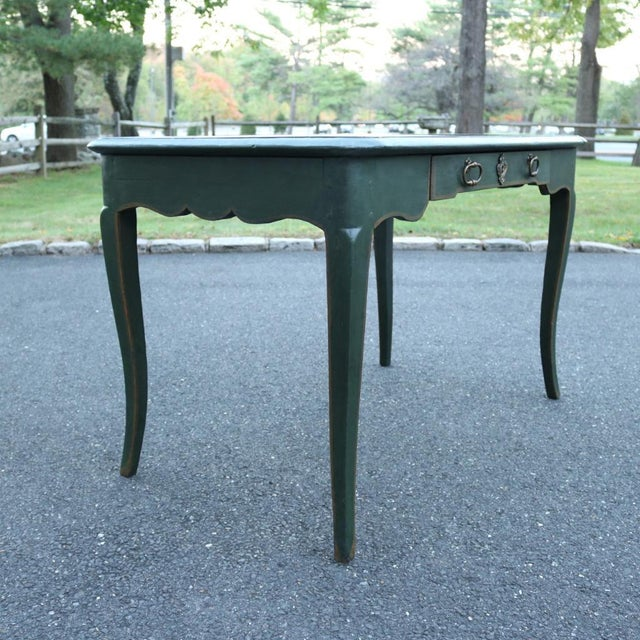Green Antique French Provincial Leather Top Desk - Image 3 of 11