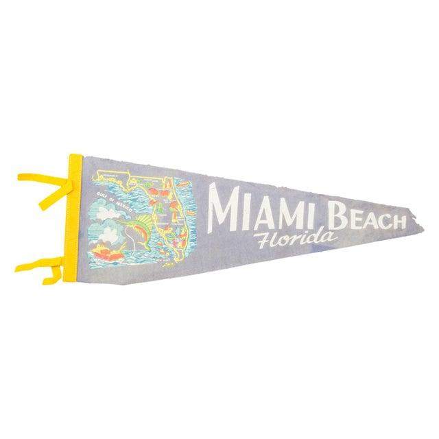 Vintage Miami Beach Felt Flag Banner For Sale