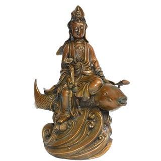 Bronze Statue of Kwan Yin on Koi Fish For Sale