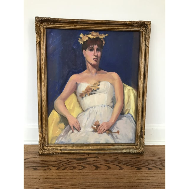 Blue Portrait of a Woman in White Dress For Sale - Image 8 of 9