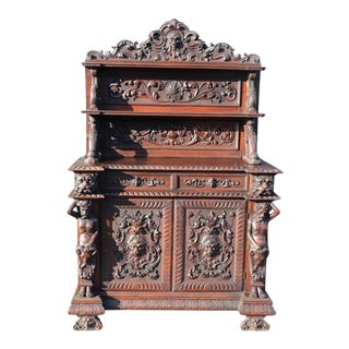 Italian Carved Walnut Man of the Mountain Sideboard Huntboard For Sale