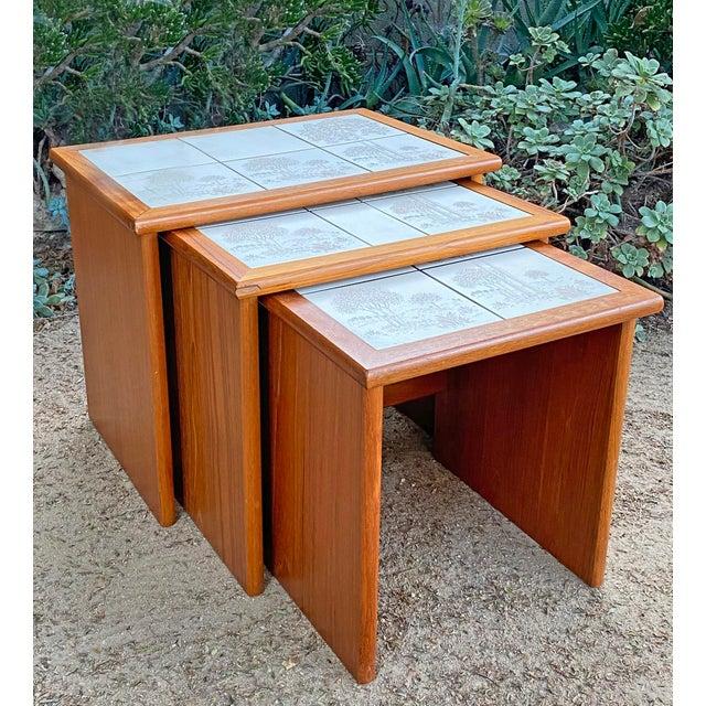 Vintage Danish Modern Teak Tile Top Nesting Tables by Trioh - Set of 3 For Sale In Los Angeles - Image 6 of 6