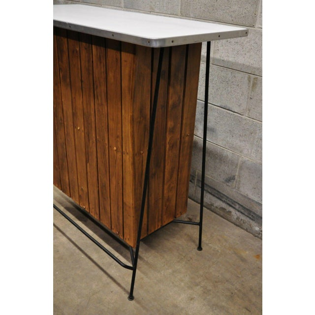 Mid Century Modern Arthur Umanoff Wrought Iron and Rattan Bar and Bar Stools- 3 Pieces For Sale In Philadelphia - Image 6 of 13