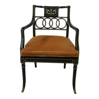 Baker Neoclassical Black Decorated Armchair For Sale