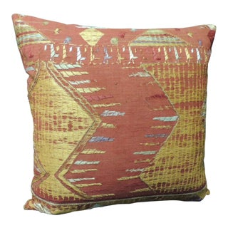 "Antique Textile ""Phulkari"" Embroidered Linen Decorative Pillow For Sale"
