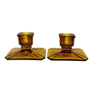 Antique Victorian Amber Glass Rectangle Candlestick Holders - a Pair For Sale