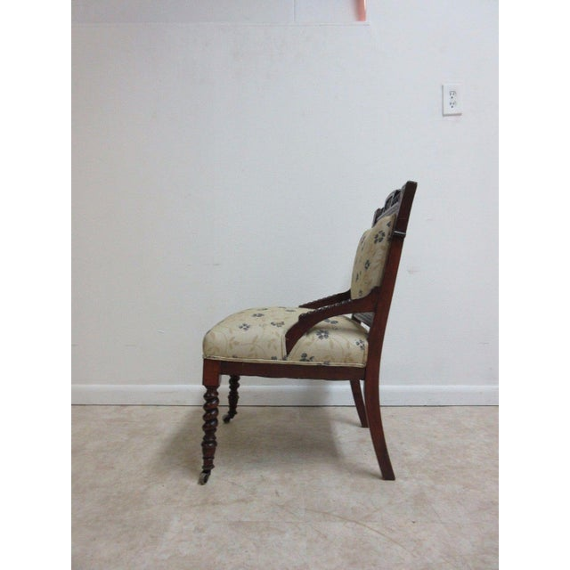Antique Victorian Carved Walnut Lounge Chair For Sale - Image 4 of 10