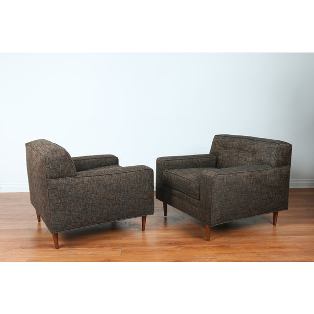 Gray Cubed Lounge Chairs- A Pair - Image 4 of 10