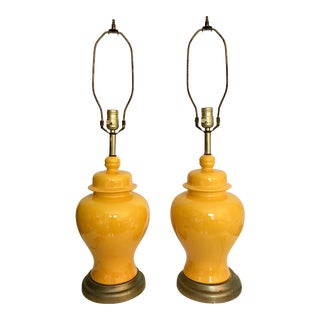 Vintage Chinoiserie Hollywood Regency Yellow Ginger Jar Lamps - a Pair