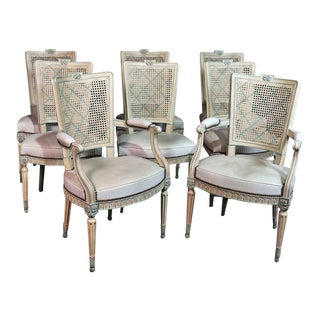 French Louis XVI Style Caned Back Dining Chairs - Set of 8 For Sale