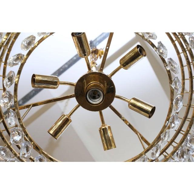 Brass Vintage Austrian Palwa Crystal Chandelier For Sale - Image 7 of 9