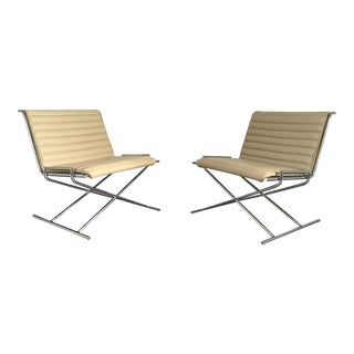 Modern Ward Bennett for Geiger Herman Miller Chrome & Leather Sled Chairs- A Pair For Sale