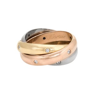 Cartier Diamond 18 Karat Tri Gold Trinity Ring For Sale