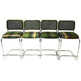 Retro Plaid Wool Stools - Set of 4 For Sale