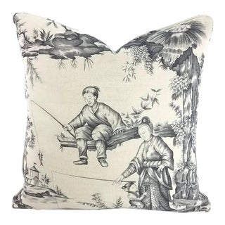 Schumacher Shengyou Toile Charcoal Pillow Cover For Sale