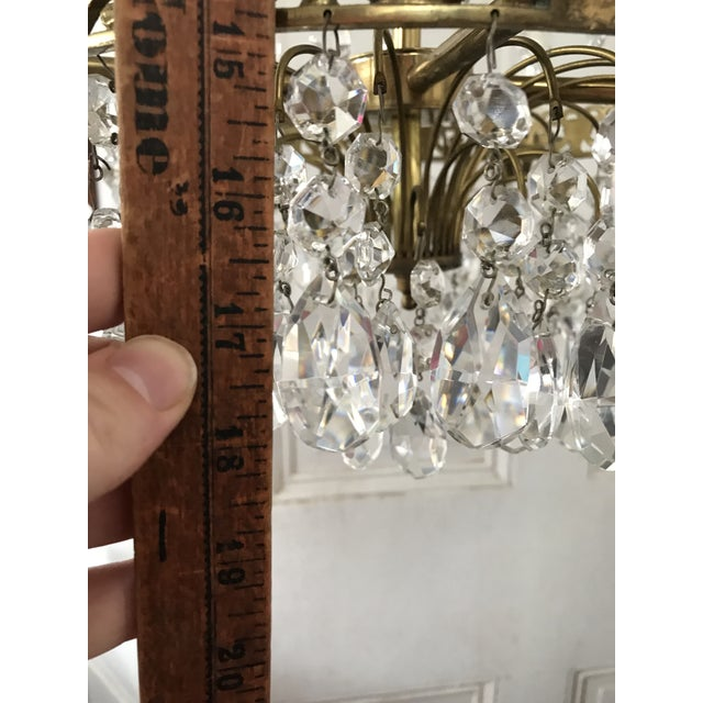 Brass Russian Baltic Crystal Layered Polished Brass Waterfall Chandelier For Sale - Image 8 of 11