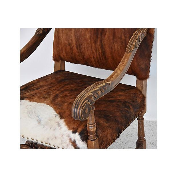 Antique Carved Oak & Cowhide Throne Armchair - Image 3 of 12