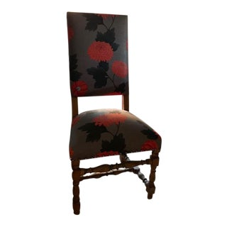 Floral Upholstered Empire Side Chair For Sale
