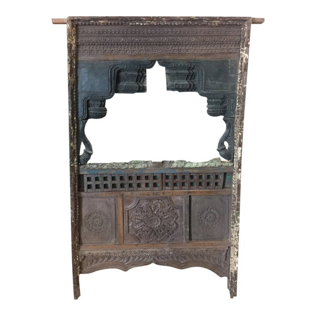 1920s Shabby Chic Jharokha Natural Wood Mirror Frame For Sale