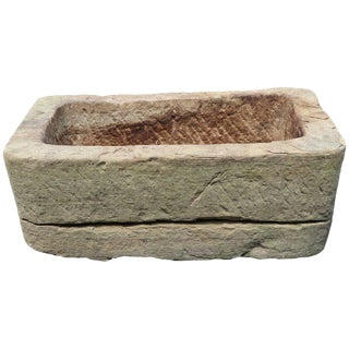 Hand-Carved Belgian Limestone Planter For Sale