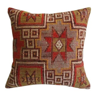 Vintage Star Embroidered Turkish Kilim Pillow For Sale