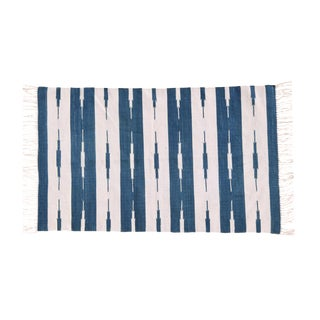 Hyacinth Rug, 8x10, Royal Blue & White For Sale