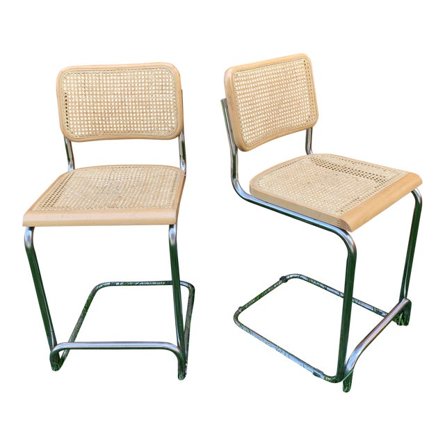 Cesca Breuer Style Cantilevered Cane Counter Stools - a Pair For Sale
