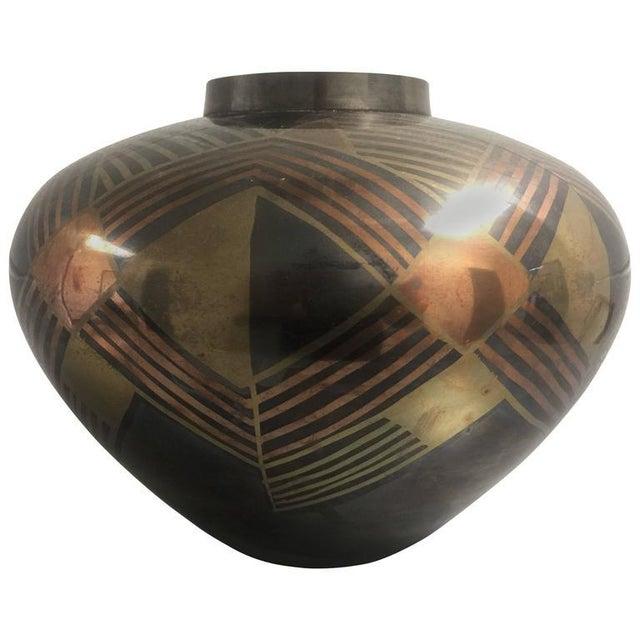 Art Deco Enameled Bronze Vase For Sale