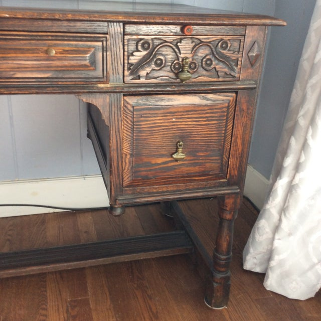 Rustic Late 19th Century Rustic Dark Oak Desk and Chair - 2 Pieces For Sale - Image 3 of 13